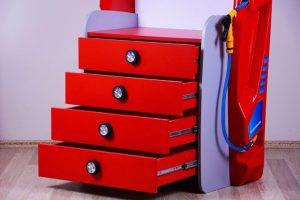 Komoda degalinė GT su lentynomis raudona