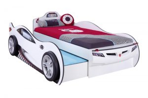 Mašina lova Coupe su stalčiumi balta